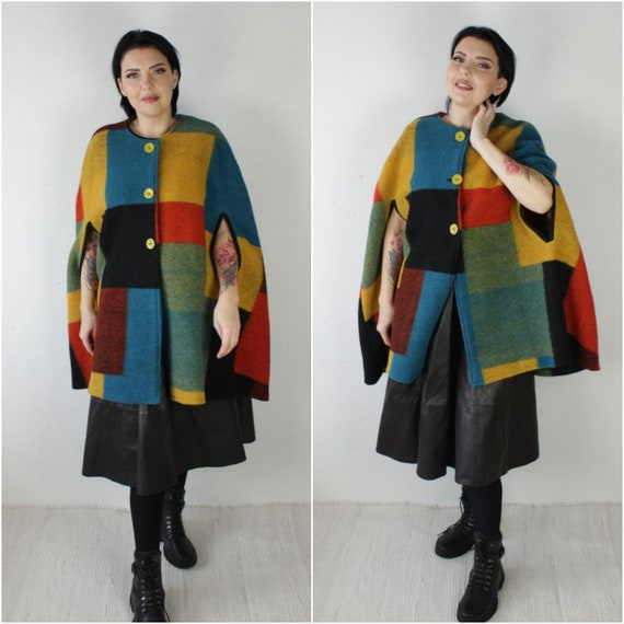 Vintage colorblock wool cloak coat Colorful poncho