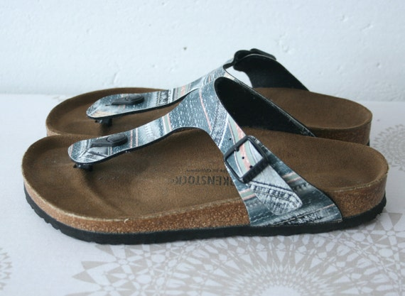 c8d874d86820 BIRKENSTOCK women s thong sandals Denim pattern Birkensock
