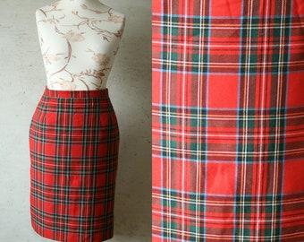 Vintage red tartan skirt High waisted plaid red check tartan skirt TREVIRA wool polyester blend pencil skirt Checked secretary skirt