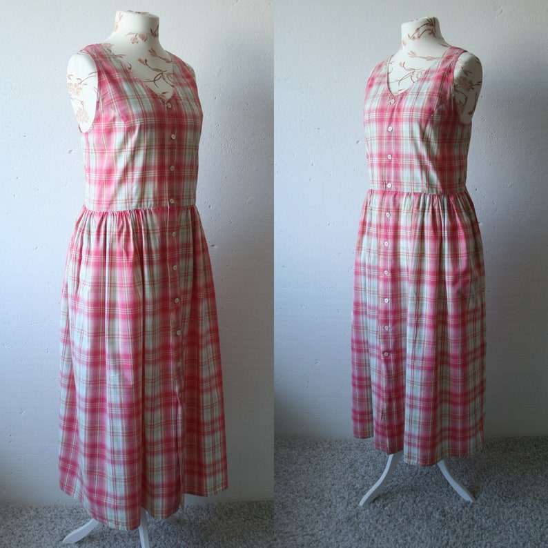 Vintage 70s dress Pink beige check print maxi midi tank dress V neck bohemian hippie checkered print dress Button up sleeveless M blouse