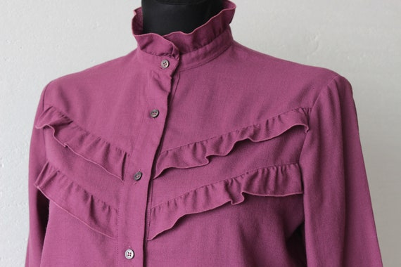 Vintage Victorian style pure wool magenta blouse … - image 10