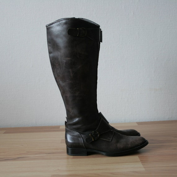 Full Vintage genuine leather high brown boots chocolate Italian TREMP Round zip heel toeline dark distressed ridding closure knee 39 Square 6xnWwdAqRA