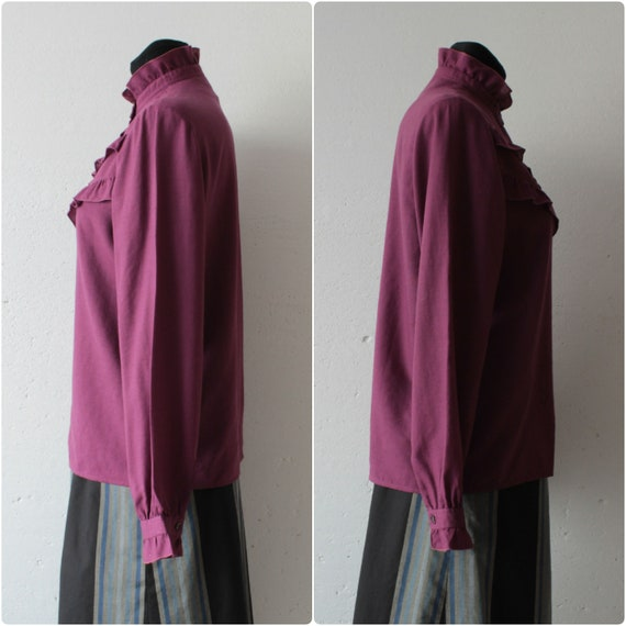 Vintage Victorian style pure wool magenta blouse … - image 6