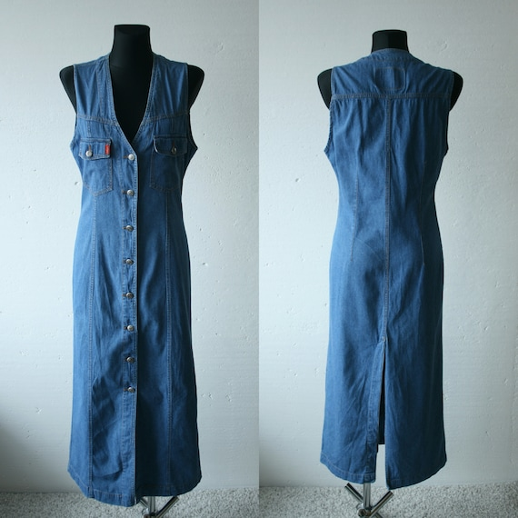 Vintage blue denim overalls maxi dress Denim fitte