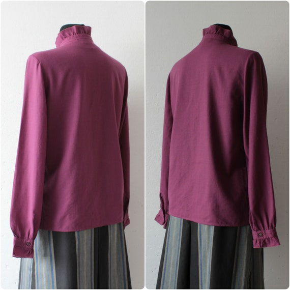 Vintage Victorian style pure wool magenta blouse … - image 4