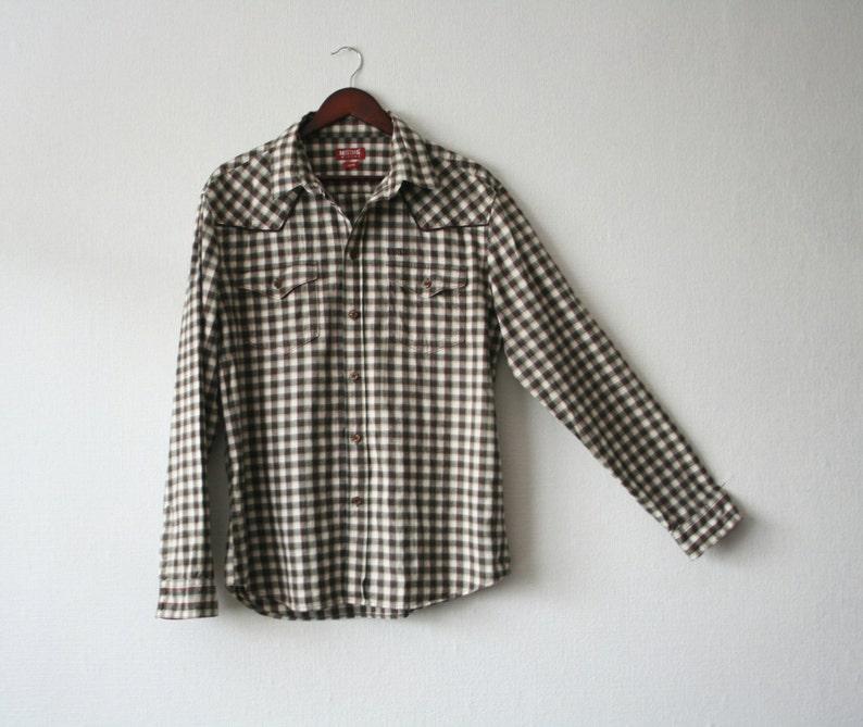 cea2e4ea347 MUSTANG jeans shirt Unisex checkered shirt Western plaid shirt Brown  checkered flannel shirt Size XL Brown Mustang buttons up cowboy shirt
