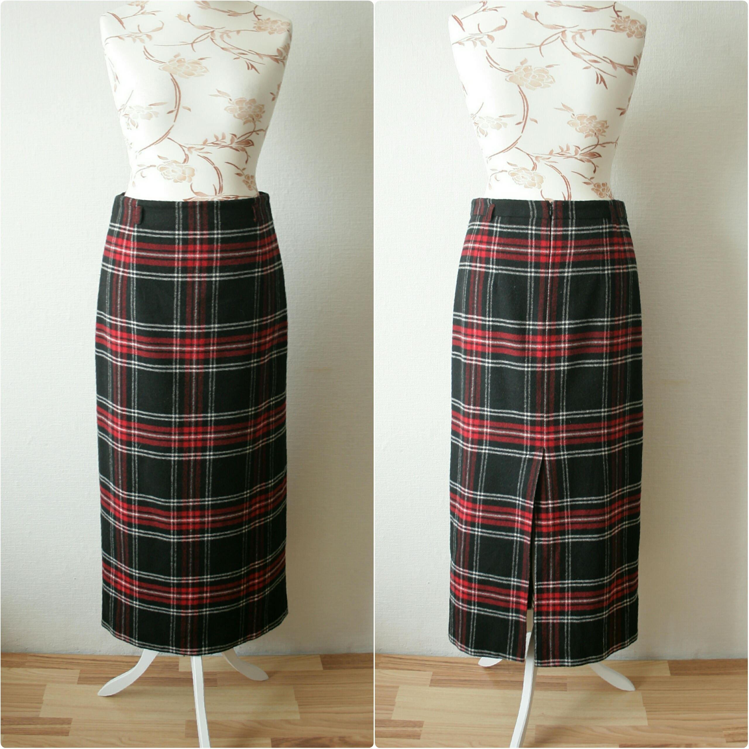 f02e373c0 Red And Black Plaid Maxi Skirt | Saddha