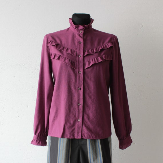 Vintage Victorian style pure wool magenta blouse … - image 1