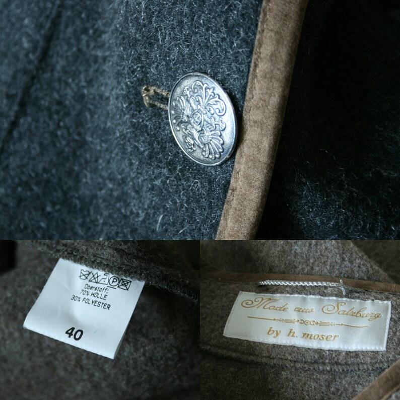 Vintage Dirndl wool blend vest Trachten brown black Austrian vest Warm winter vest Mode aus Salzburg by H MOSER Men Unisex warm winter vest