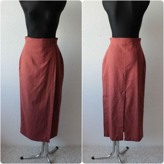 Vintage linen blend brick red midi maxi wrap skirt