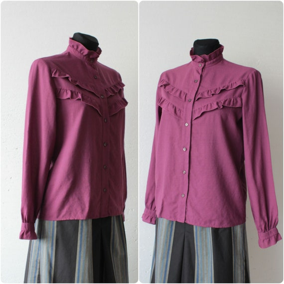 Vintage Victorian style pure wool magenta blouse … - image 5
