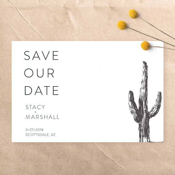 Modern SucculentCactus Desert Wedding Save the Date Black and White ~ CustomPrintable