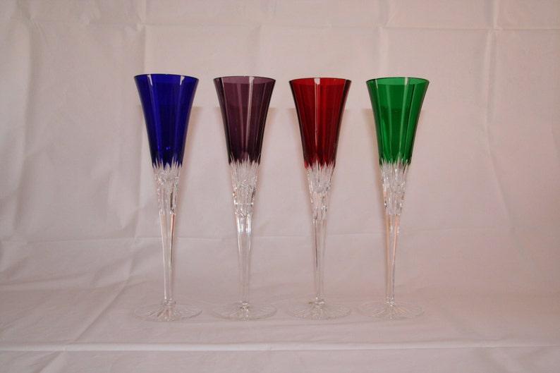 81ce30742ef5c Ajka Mouth Blown Crystal Champagne Flutes Set of 4