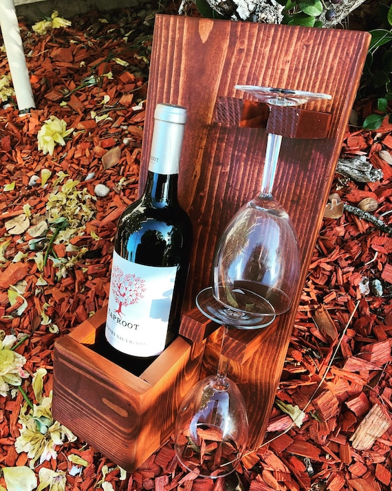 Wine Holder Rustic Wine Rack Bottle Glass holder Wall Decor   Etsy