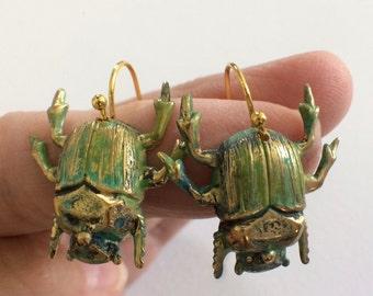 Beetle Earrings, Bug Earrings,  Bug Jewelry,  Weird Gifts, Insect Jewelry,  Creepy Jewelry, Creepy Earring, Hard to Buy, Halloween Jewelry