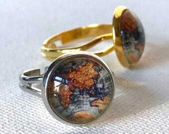 World Ring, Map Ring, World Map Ring, Globe, Travel Jewelry, Travel Ring, Globe Trotting, Travel Gift, World Map, Traveler Gift, Universe