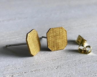 Octagon Stud Earrings, Matt Gold Stud Earrings, Geometric Stud Earrings, Basket weave Stud Earrings, Minimalist Earrings, Gifts for Her