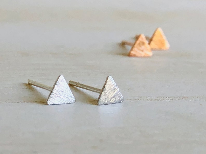 Tiny Triangle Stud Earrings Rose Gold Triangle Earrings Sterling Silver Triangle Earrings Micro Triangle Earring Geometric Triangle