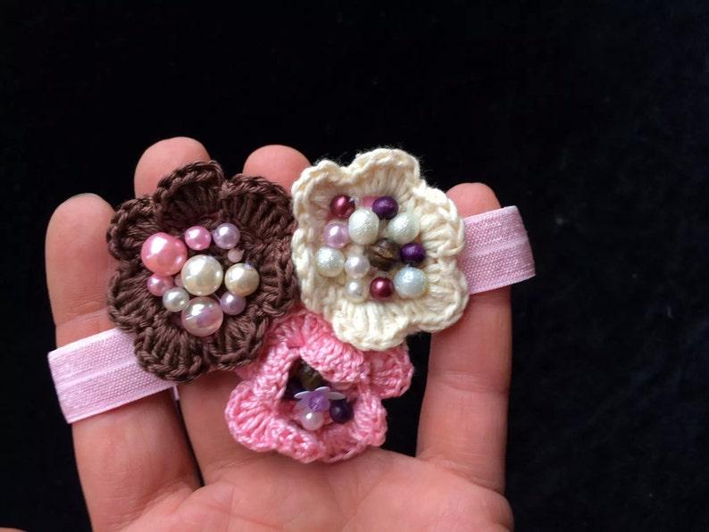 Rustic flower headband Pink headband Baby headband Infant headband newborn headband photo prop Pink satin flower on pink lace headband