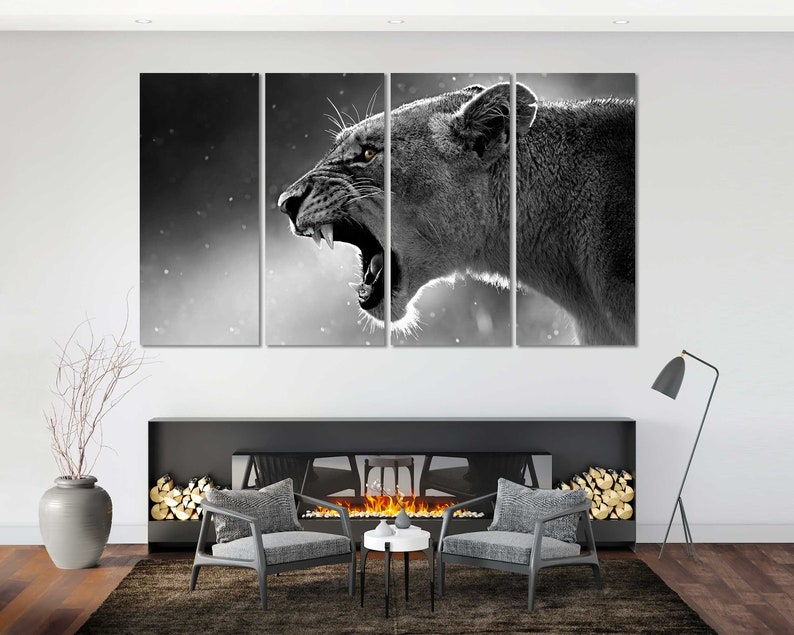 Wildlife Large Canvas Sets Lion Roaring Original Room Wall Art Lion Beautiful Black and White Art Wild Cat Painting Art on Canvas