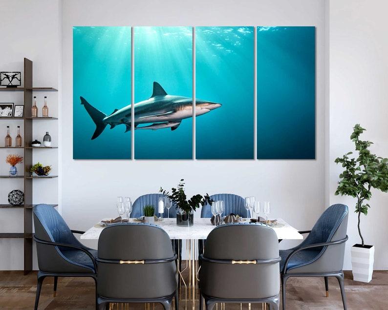 17. Cool Shark Underwater Canvas Wall Art