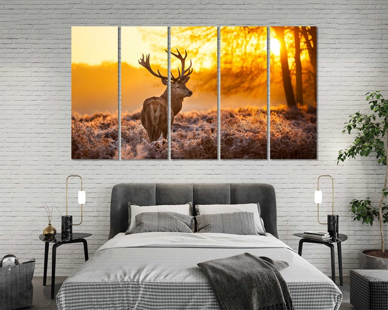 Deer at Sunrise Canvas Art Wall Forest Animal Stylish Room Decor Wild Animal Print Canvas Sets Deer Art Ideas Wildlife Large Artwork