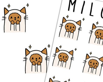 Surprised and Excited Cat Emoji  | Planner Stickers |