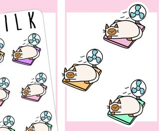 Hot lounging Cat with a fan  | Planner Stickers |