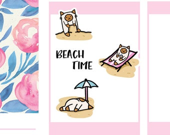 Summer, Beach Time Cats | Planner Stickers |