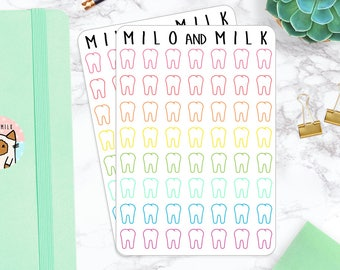 Tooth Icons | Planner Stickers | Rainbow