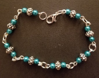 Teal and silver beaded bracelet