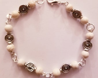 Ivory and silver beaded bracelet