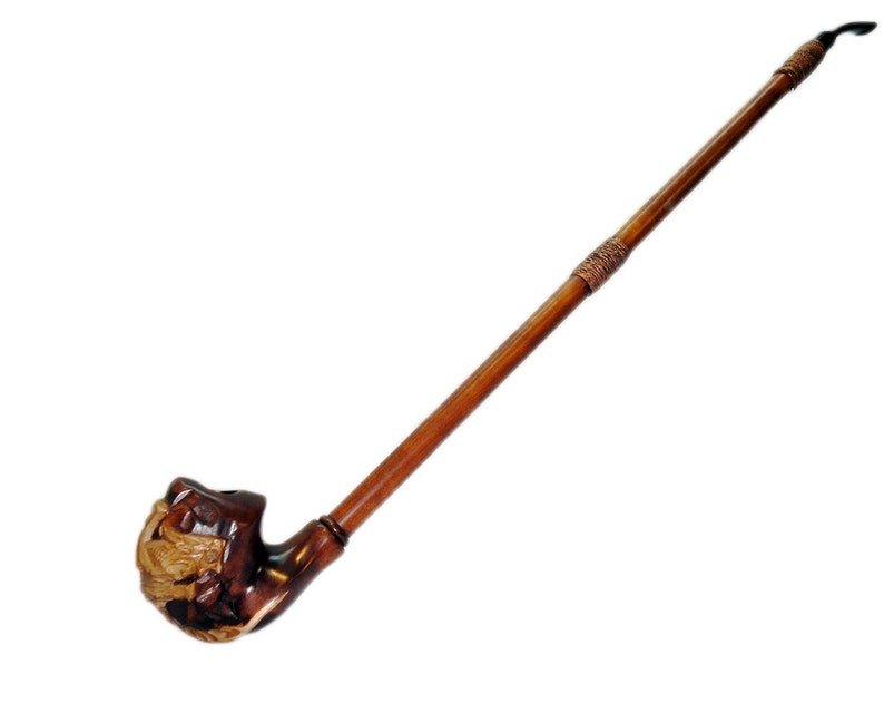 Super Long Wooden Smoking Pipes Dragon Tobacco Pipe Handcrafted Wood Smoking Pipe Exclusive Design Engraved Smoking Bowl Grandfather Gift