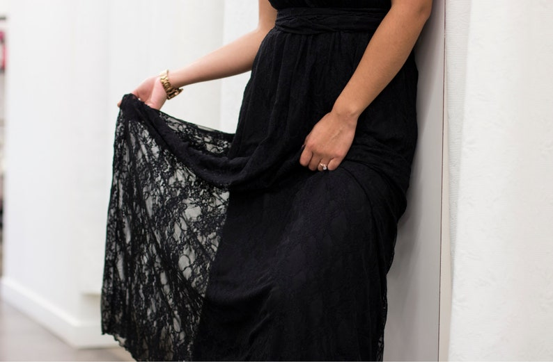 HENKAA DAFFODIL Lace Maxi dress formal sleeveless convertible reversible infinity gown