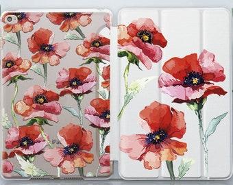 Poppy iPad 10.5 Case Poppies iPad 4 Case Clear iPad 5 Case iPad 9.7 Case iPad Pro Case iPad Mini Case Cute iPad 3 Case iPad Air Case CZ4007