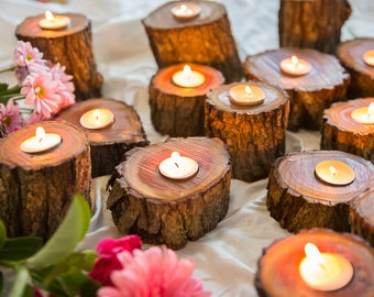 Wooden Tealight Holders, Candle holder, Wedding, Reception, Home Decor