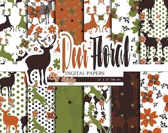 80% OFF SALE! Deer Digital Paper pack, Woodland Deer Patterns, Digital paper, Deer  digital paper, Scrapbook Paper, Printable Background