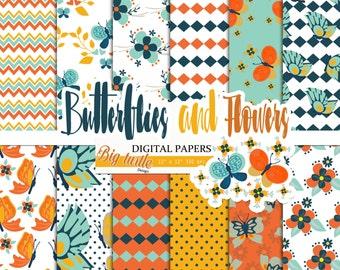 80% OFF SALE! Butterfly digital paper pack,  flowers digital papers, Butterfly Pattern , Scrapbook Paper , Printable Background , 12 JPG.