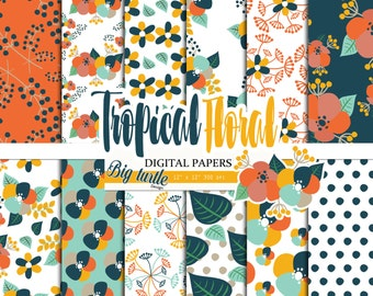 80% OFF SALE! Tropical Floral digital paper Pack, Floral digital paper, Scrapbook Paper , Printable Background ,Tropical patterns, 12 JPG.