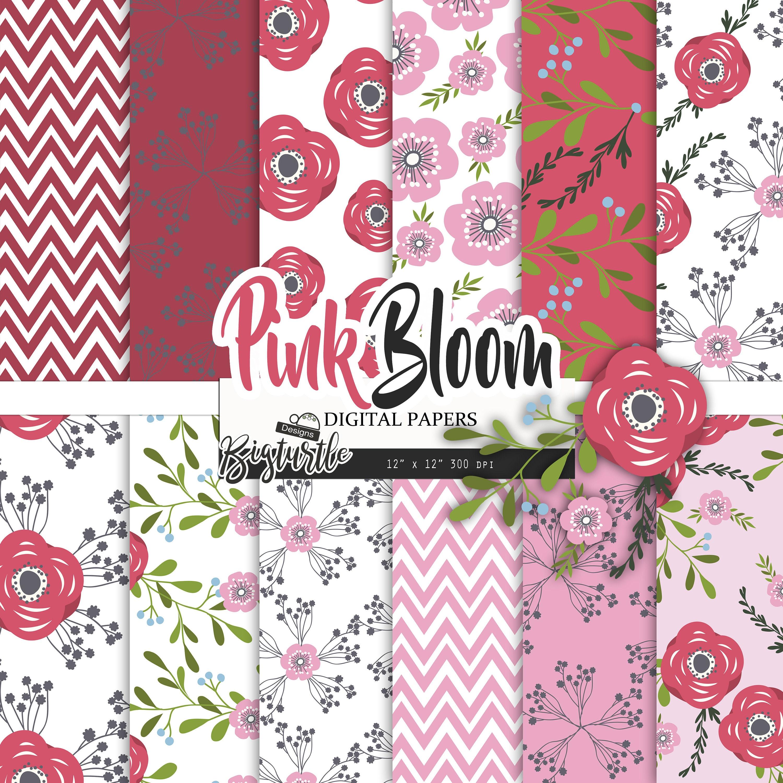 60 Off Pink Floral Digital Paper Pack Wedding Digital Etsy