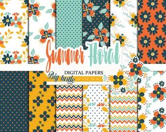 80% OFF SALE! Summer Floral digital paper pack, vintage digital paper, Flower digital paper, Scrapbook Paper, Printable Background, 12 JPG.