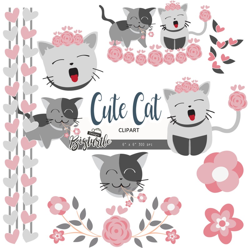 valentine clipart png files Instant Download cat clipart digital Cat cute digital clipart pink floral clipart 300 dpi
