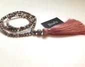 108 Mala Beads - Mala Necklace - Gemstone Mala - Yoga Beads - Pink Tassel Mala - Jasper Mala - Tassel Mala - Pretty Mala - meditation Beads