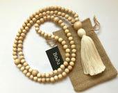 Mala Beads - Mala Necklace- 108 mala - wooden Mala - white Mala - Yoga beads - meditation beads - simple mala - mala - long tassel mala