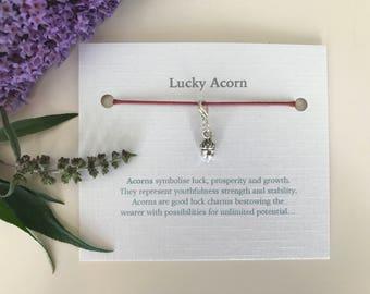 Lucky charm - Lucky Acorn - good luck -  gift for luck -  good luck gift - Zip charm - good luck card - wedding favour - zipper - acorn