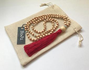 Mala Beads - Mala Necklace - 108 Mala Beads - Mala - Yoga Necklace - Meditation Beads - Prayer Beads - hand knotted  Mala - Red Tassel Mala
