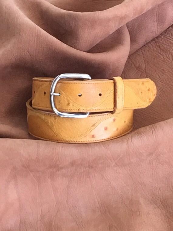 Ostrich Embossed Dress Designer Exotic Leather Belt 1-1//2 wide