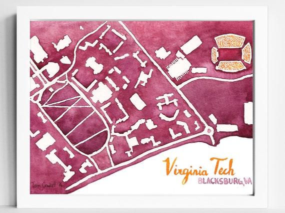 Virginia Tech Hokies Campus Map 5x7 Vt College Art Print Etsy