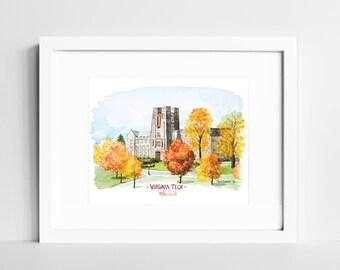Virginia Tech Hokies Watercolor Print   VT College Campus Wall Art   Blacksburg VA