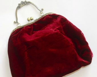 Velvet Wine red  Clutch Purse, Evening Clutch Purse with metal handle
